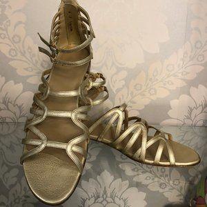 STUART WEITZMAN Metallic Strappy Leather Sandals